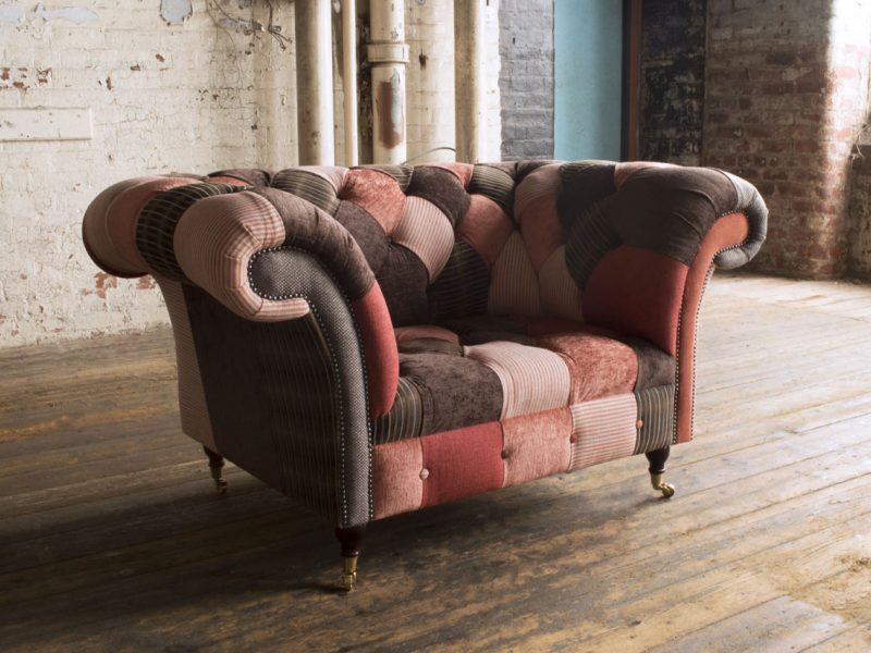salmon-fabric-patchwork-chesterfield-snuggle-chair